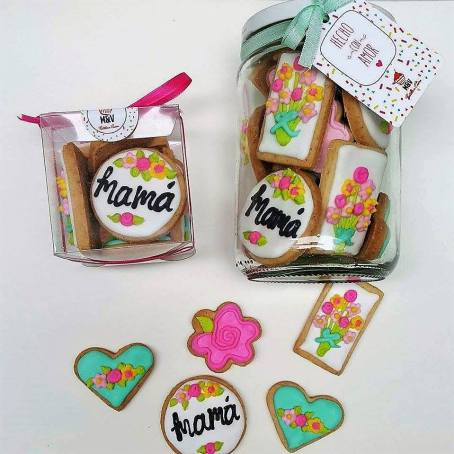 cajita cubo y frasco mini cookies